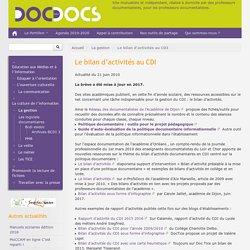 Le bilan d'activités au CDI - Doc pour docs