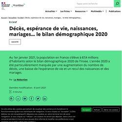 Bilan démographique 2020 : les chiffres de l'Insee