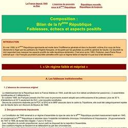 Bilan de la IVEME République