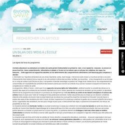 EDUCATIONSANTE_BE - MAI 2005 - Un bilan des 'Midis à l'école'