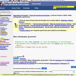 Bilan orthographe, grammaire