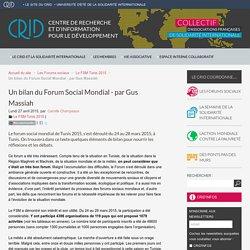 Un bilan du Forum Social Mondial - par Gus Massiah - CRID