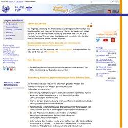 Thema für Thesis — IfBM - Institut für Bildungswissenschaft und Medienforschung