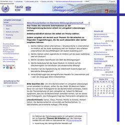 Abschlussarbeiten im Bachelor Bildungswissenschaft — IfBM - Institut für Bildungswissenschaft und Medienforschung