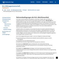 Rahmenbedingungen der B.A.-Abschlussarbeit
