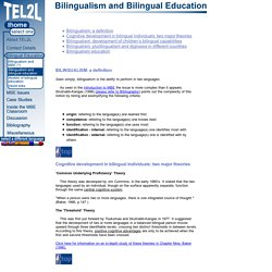 Bilingualism and Bilingual Education