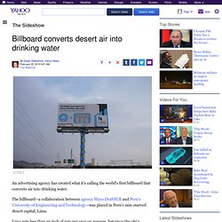 Billboard converts desert air into drinking water