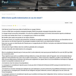 Billet d'avion quelle indemnisation en cas de retard ?