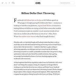 Billion Dollar Dart Throwing