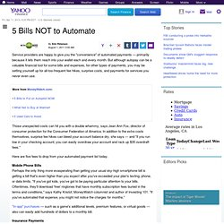 bills-not-to-automate: Personal Finance News from Yahoo! Finance