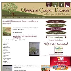 Get 14 FREE binder pages & dividers from Obsessive Coupon Gals