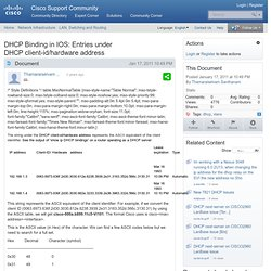 DHCP Binding in IOS: Entries under DHCP client-id/hardware address