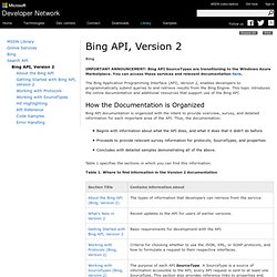 Bing API, Version 2