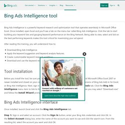 Bing Ads Intelligence tool - Bing Ads Training - Bing Ads