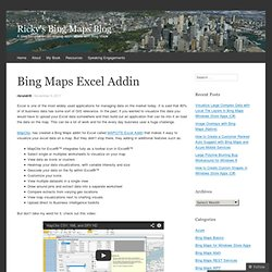 Bing Maps Excel Addin
