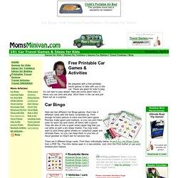Car Bingo / Auto Bingo, Travel Bingo & many other free PRINTABLE travel games to play in the car
