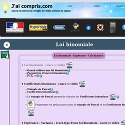loi binomiale - espérance - variance - coefficients binomiaux