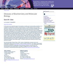 Glossary of Biochemistry and Molecular Biology