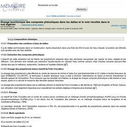 Dosage biochimique des composés phénoliques dans les dattes et le miel récoltés dans le sud algérien - Ahmed Bessas