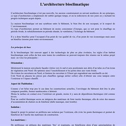 Habitation bioclimatique