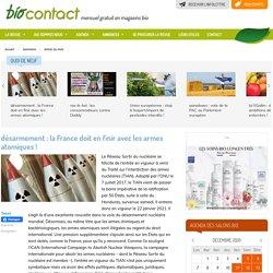 Biocontact - désarmement : la France doit en finir avec les armes atomiques!