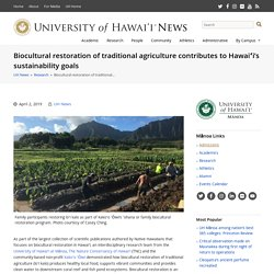 UNIVERSITY OF HAWAII 02/04/19 Biocultural restoration of traditional agriculture contributes to Hawaiʻi's sustainability goals