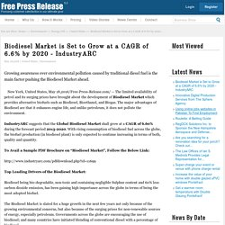 Biodiesel Market is Set to Grow at a CAGR of 6.6% by 2020 - IndustryARC