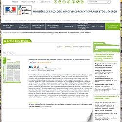 MEDDE 07/08/13 Biodiversité et évolutions des pratiques agricoles - Recherches et analyses pour l'action publique