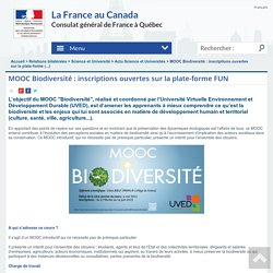 MOOC Biodiversité : inscriptions ouvertes sur la plate-forme (...)