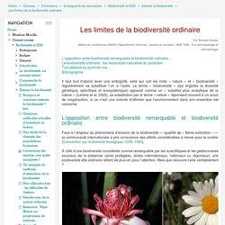 Biodiversité et EDD: Les limites de la biodiversité ordinaire