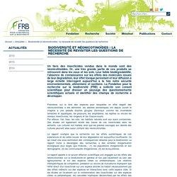 FONDATION BIODIVERSITE 13/03/17 Rapport FRB : Biodiversité et néonicotinoïdes Revisiter les questions de recherche