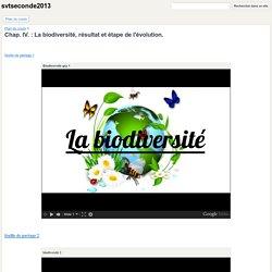 Chap. IV. : La biodiversité, résultat et étape de l'évolution. - svtseconde2013