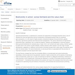 EFSA - Projet d'étude 2019-2020 - Biodiversity in action: across farmland and the value chain