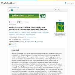 Herbarium data: Global biodiversity and societal botanical needs for novel research - James - 2018 - Applications in Plant Sciences