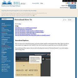 Biodiversity Heritage Library - Download How To