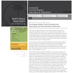Developing Mobile Tools for Biodiversity Informatics and Natural History Education