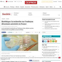 Bioéthique: la recherche sur l'embryon désormais autorisée en France