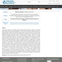 Biofield Treated Thymol and Menthol- An Innovative study of Mahendra Trivedi
