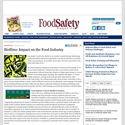 Biofilms: Impact on the Food Industry