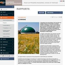 Le Biogaz - Académie des technologies