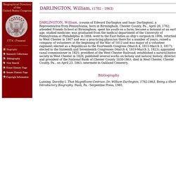 DARLINGTON, William - Biographical Information