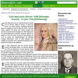 Biographie de Colin MacLaurin