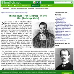 Biographie de Thomas Bayes