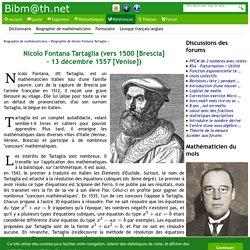 Biographie de Nicolo Fontana Tartaglia