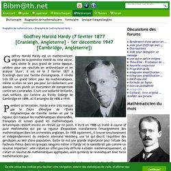 Biographie de Godfrey Harold Hardy