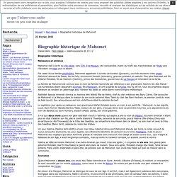 Biographie historique de Mahomet · ce que l'islam vous cache