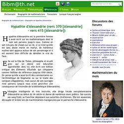 Biographie de Hypathie d'Alexandrie