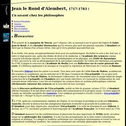 Biographie de Jean le Rond d'Alembert
