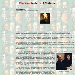 Biographie de Paul Verlaine (1844 - 1896)