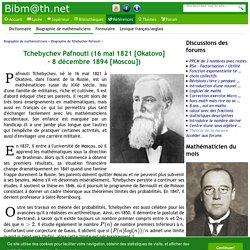 Biographie de Tchebychev Pafnouti